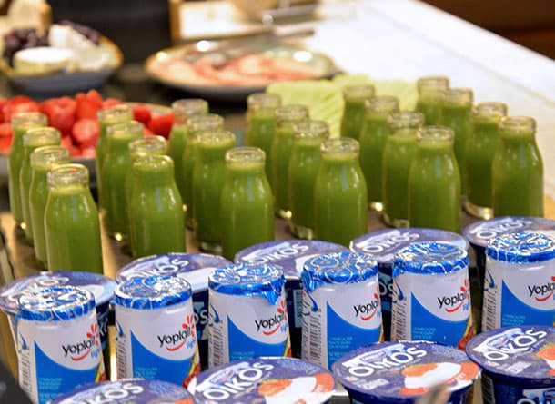 Fruit juice and yoghurt on the buffet