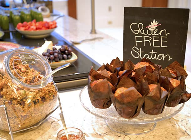 Gluten free muffins on the buffet