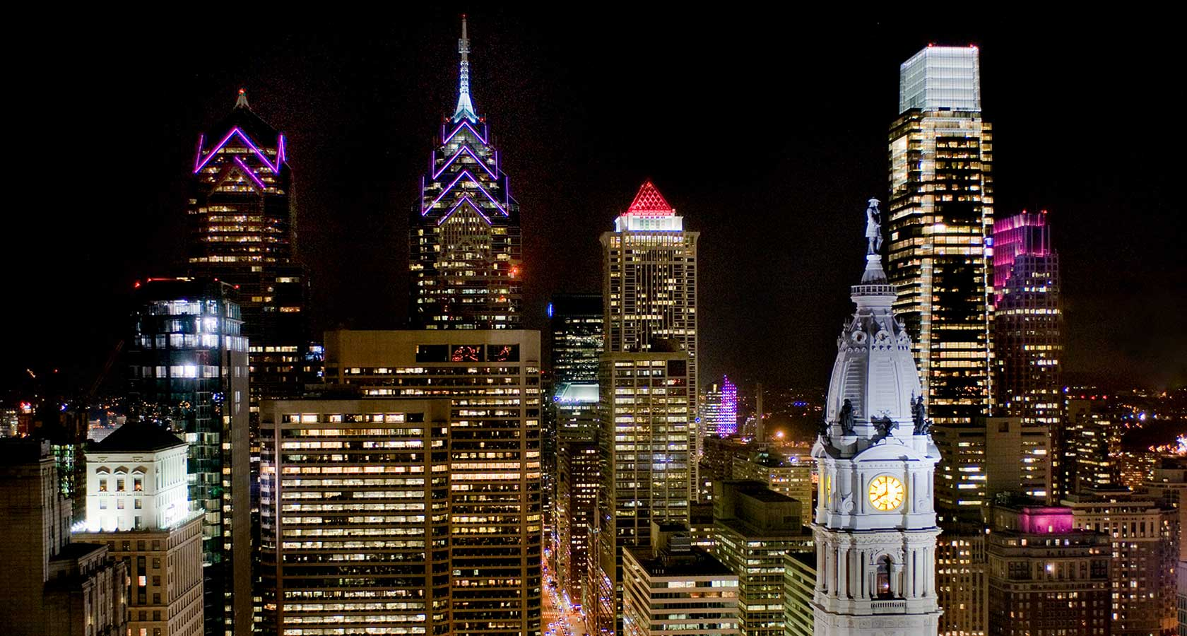 Philadelphia nightime skyline